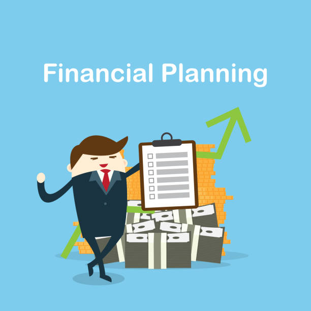 Happy businessman and check list finance Happy businessman and check list finance planning with money on background. financial planning stock illustrations