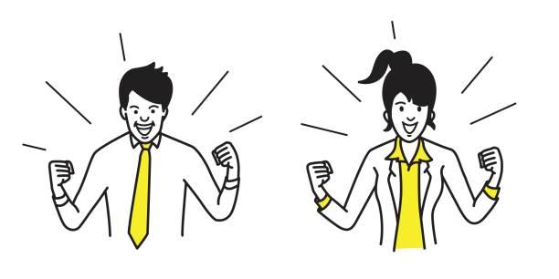 幸せな実業家と拳を保持している女性 - ドキドキ点のイラスト素材/クリップアート素材/マンガ素材/アイコン素材