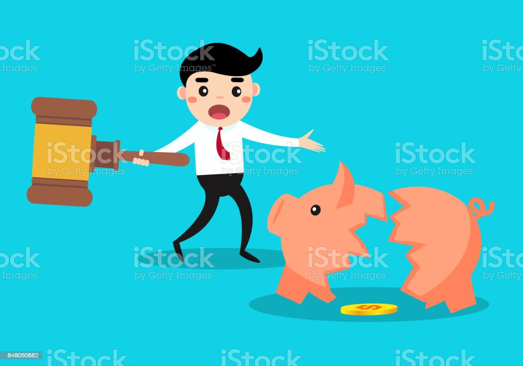 happy businessman breaking piggy bank by hammer and get his money. vector art illustration