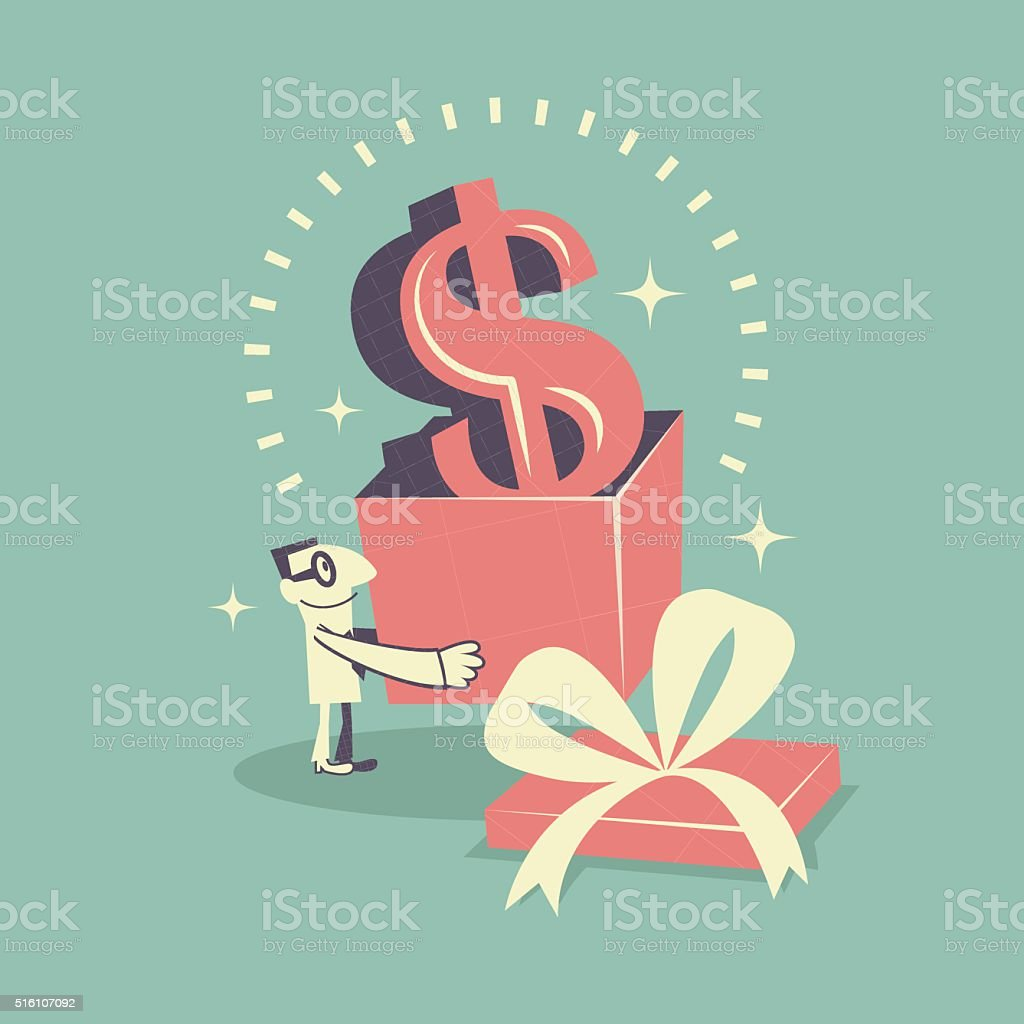 Happy businessman carrying (holding) gift box with Dollar currency sign vector art illustration