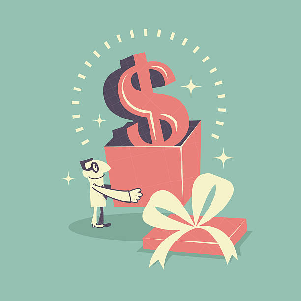 stockillustraties, clipart, cartoons en iconen met happy businessman carrying (holding) gift box with dollar currency sign - overhemd en stropdas