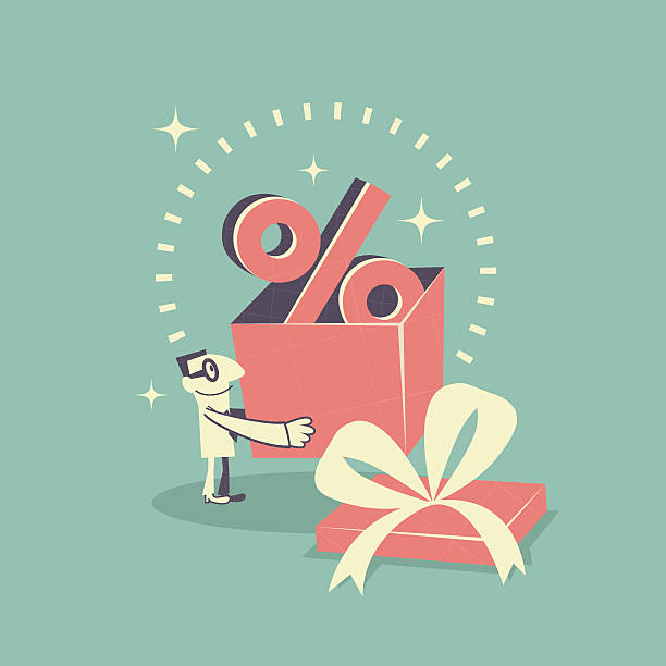 stockillustraties, clipart, cartoons en iconen met happy businessman carrying (holding) gift box with percent symbol (sign) - overhemd en stropdas