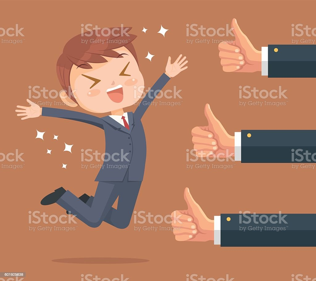 Happy businessman character and many hands vector art illustration