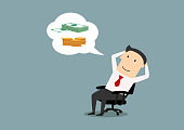 Pensive smiling cartoon businessman sitting on office chair and dreaming about money, success and wealth. Vector. Business concept design of big dream or success