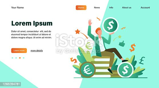 Happy businessman earning money flat vector illustration. Cartoon millionaire or banker holding huge coin. Finance growth and market concept