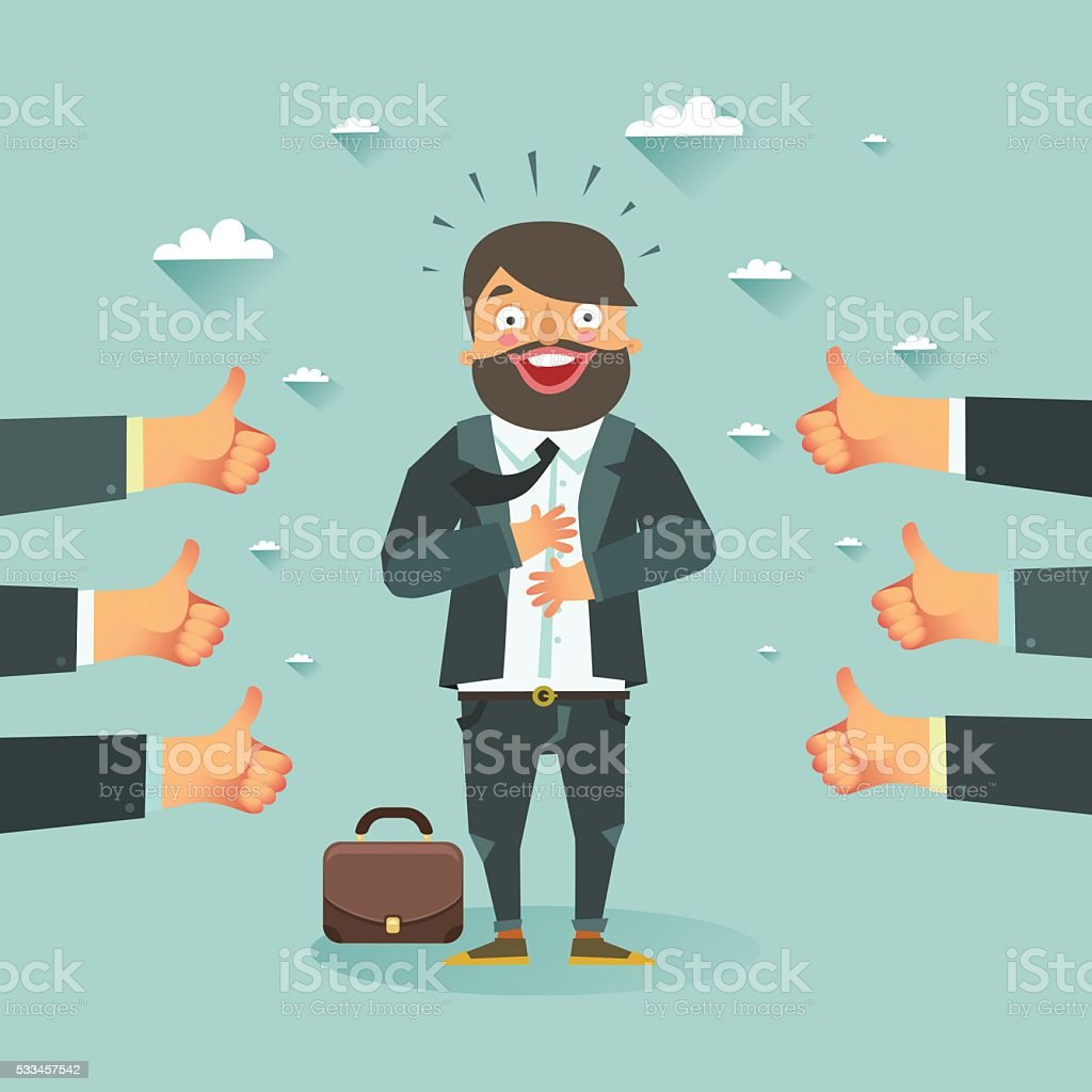 Happy businessman got a lot of likes from partners vector art illustration