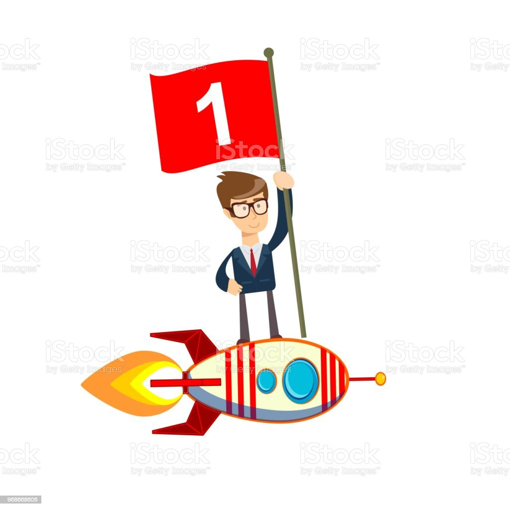 Happy Businessman Holding Number One Flag Standing On Rocket