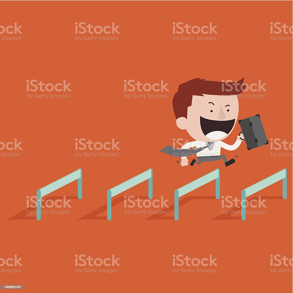 Happy businessman Jump Over Hurdle vector art illustration