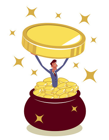 Happy businessman jumping into a pot (jug) full of money and lifting a big gold coin