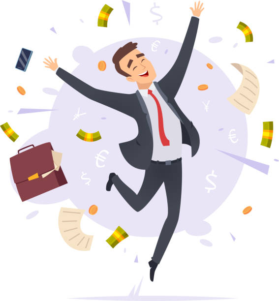 Happy businessman. Jumping proffesional successful young office manager male vector cartoon illustrations Happy businessman. Jumping proffesional successful young office manager male vector cartoon illustrations. Business man worker jump, executive and cheerful excitement stock illustrations