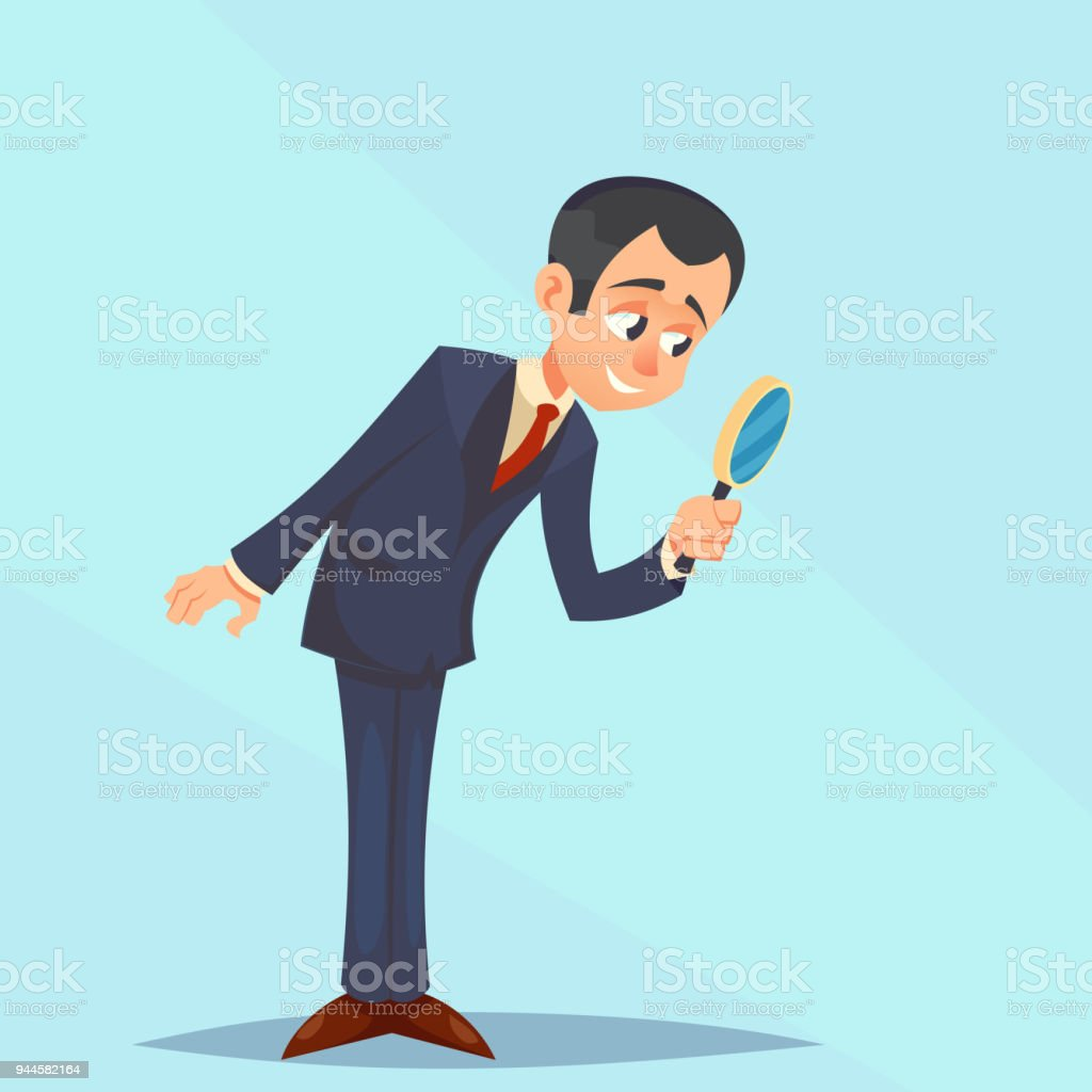 Happy Businessman looking through magnifying glass, focusing. Great for presentation vector illustration cartoon eps10 vector art illustration