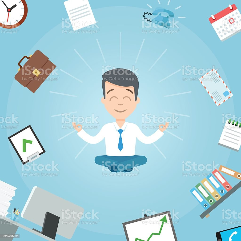 Happy businessman meditating in the office. Business yoga office vector art illustration