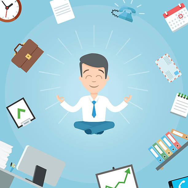 illustrations, cliparts, dessins animés et icônes de happy businessman meditating in the office. business yoga office - modèles de bande dessinée