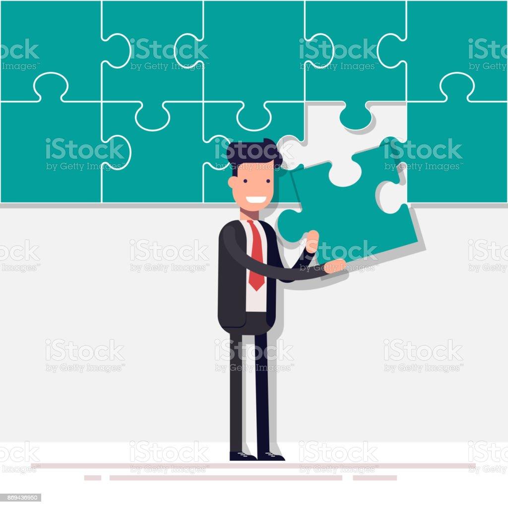 幸せな実業家またはマネージャーはパズルを収集します最後の細部男はほぼ