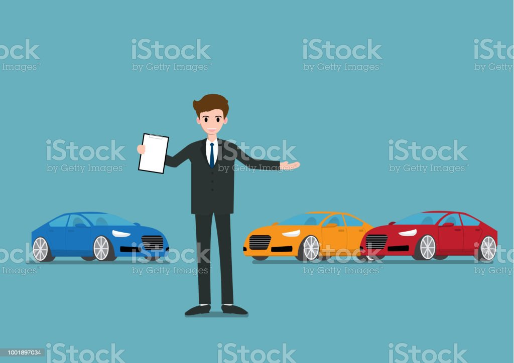Happy Businessman Or Salesman Standing And Holding A Vehicle Sales