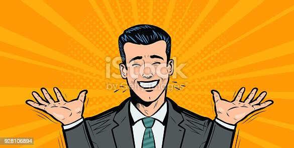 Happy businessman or student rejoices at success. business concept. Cartoon in pop art retro comic style