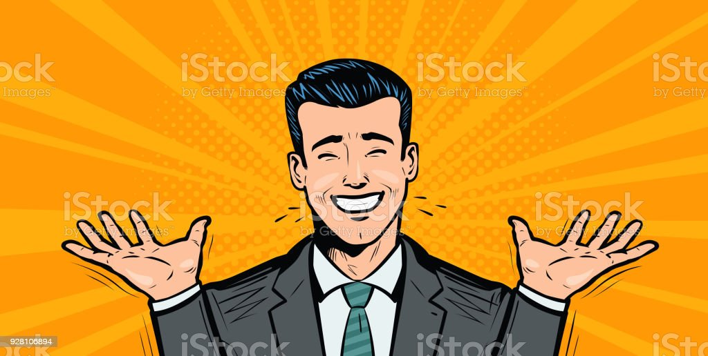 Happy businessman or student rejoices at success. Business concept. Cartoon in pop art retro comic style, vector illustration vector art illustration