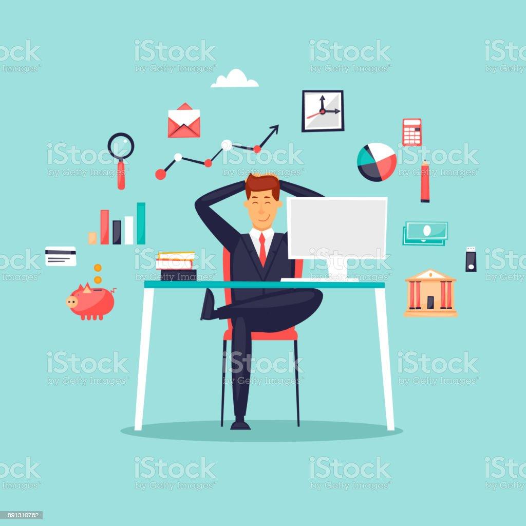 Glücklich Geschäftsmann sitzt am Computer, Icon-Set. Flaches Design-Vektor-Illustration. – Vektorgrafik