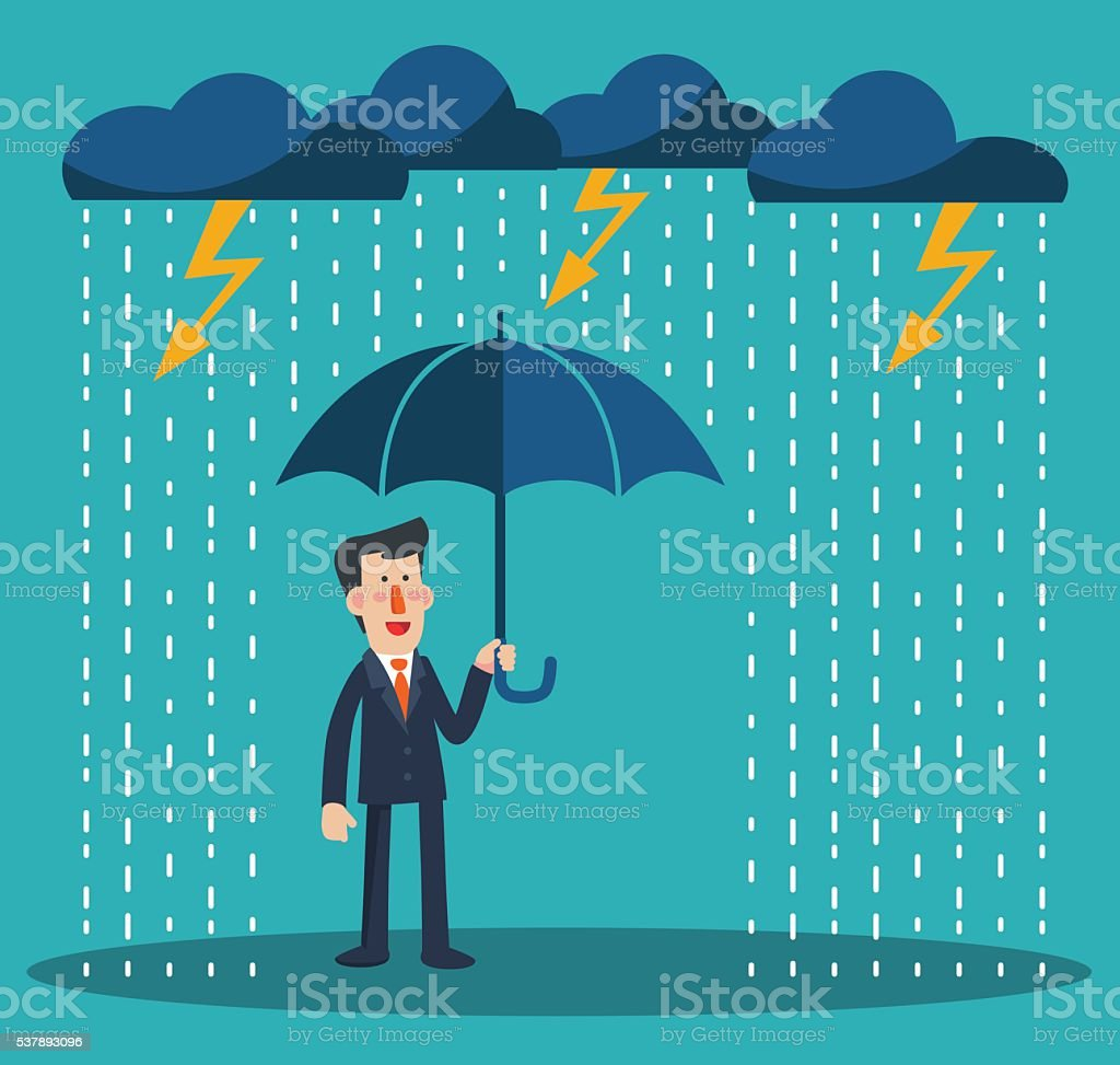 Happy businessman standing with umbrella under thunderstorm. Businessman protection concept vector art illustration