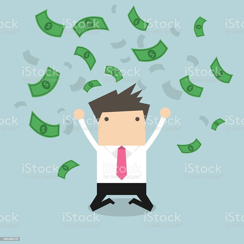 Happy businessman throwing money up. vector art illustration