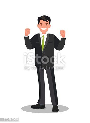 Happy businessman who received good news. Vector illustration.