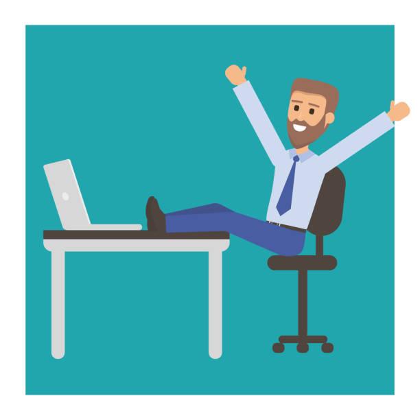 glücklich kaufmann mit bart oder manager sitzt auf einem stuhl, die füße auf den tisch. erfolgreicher mann die erholung am arbeitsplatz im büro. vektor-illustration. - möbelfüße stock-grafiken, -clipart, -cartoons und -symbole