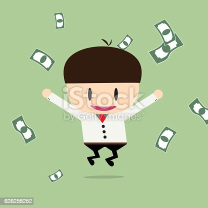 istock Happy businessman with cheques on a large sum. 626258252