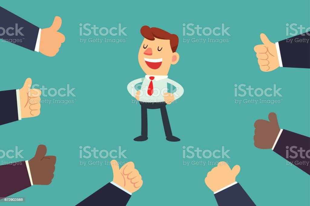 happy businessman with many thumbs up hands vector art illustration