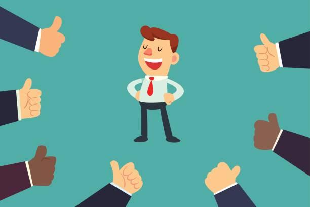 heureux homme d'affaires avec plusieurs pouces des mains - Illustration vectorielle