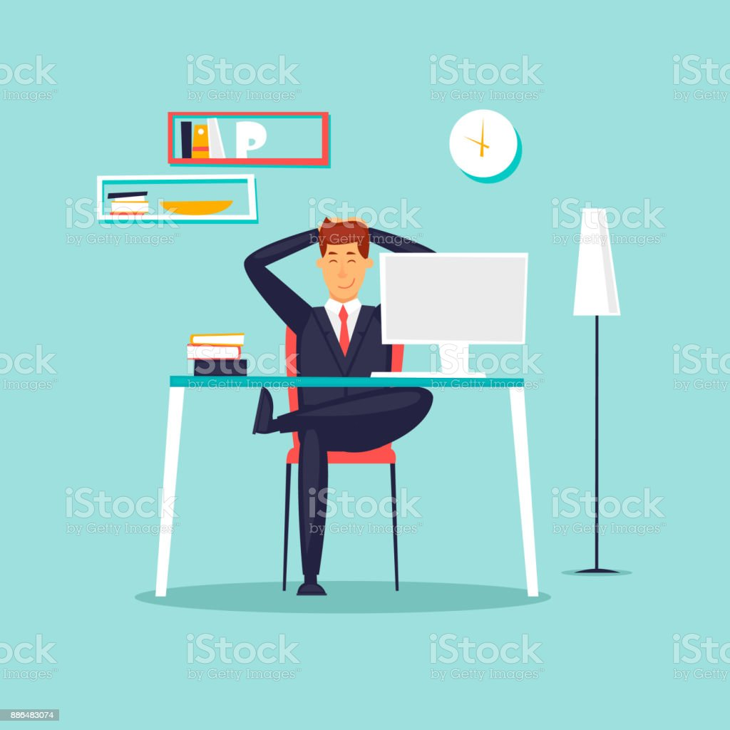 Happy businessman working in the office at the computer, workplace, interior. Flat design vector illustration. vector art illustration