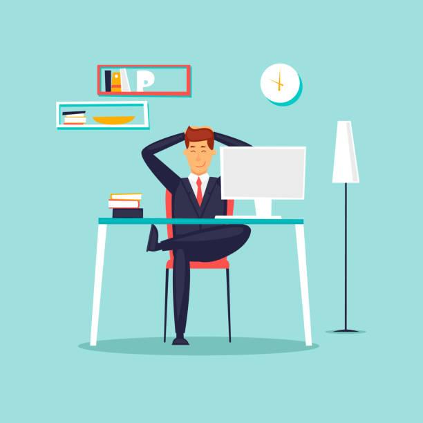 Glücklich Kaufmann arbeiten im Büro am Computer, Arbeitsplatz, Interieur. Flaches Design-Vektor-Illustration. – Vektorgrafik