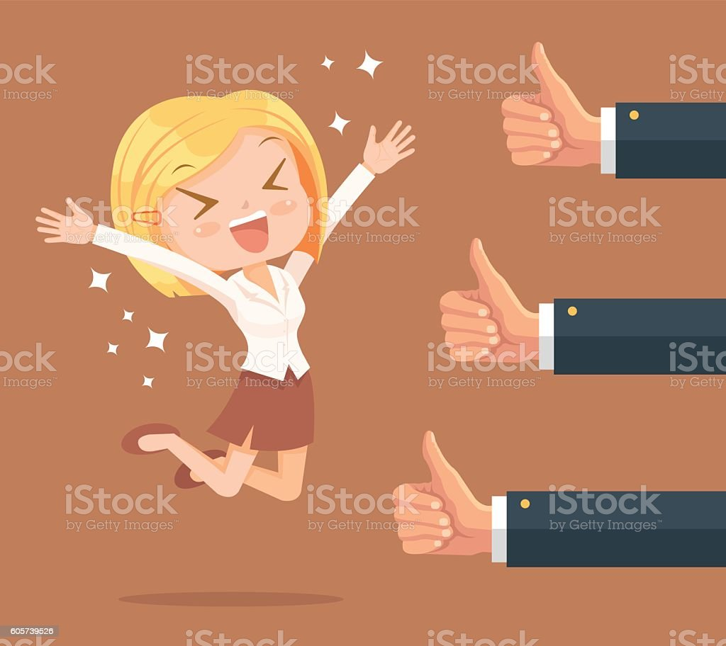 Happy businesswoman character and many hands vector art illustration