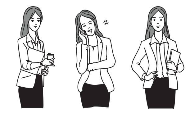 행복함 치도 토킹 휴대폰 - 단정한 사무복 stock illustrations