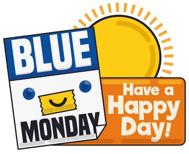 stockillustraties, clipart, cartoons en iconen met gelukkig kalender wijzigen de sfeer tijdens een zonnige blauwe maandag - blue monday