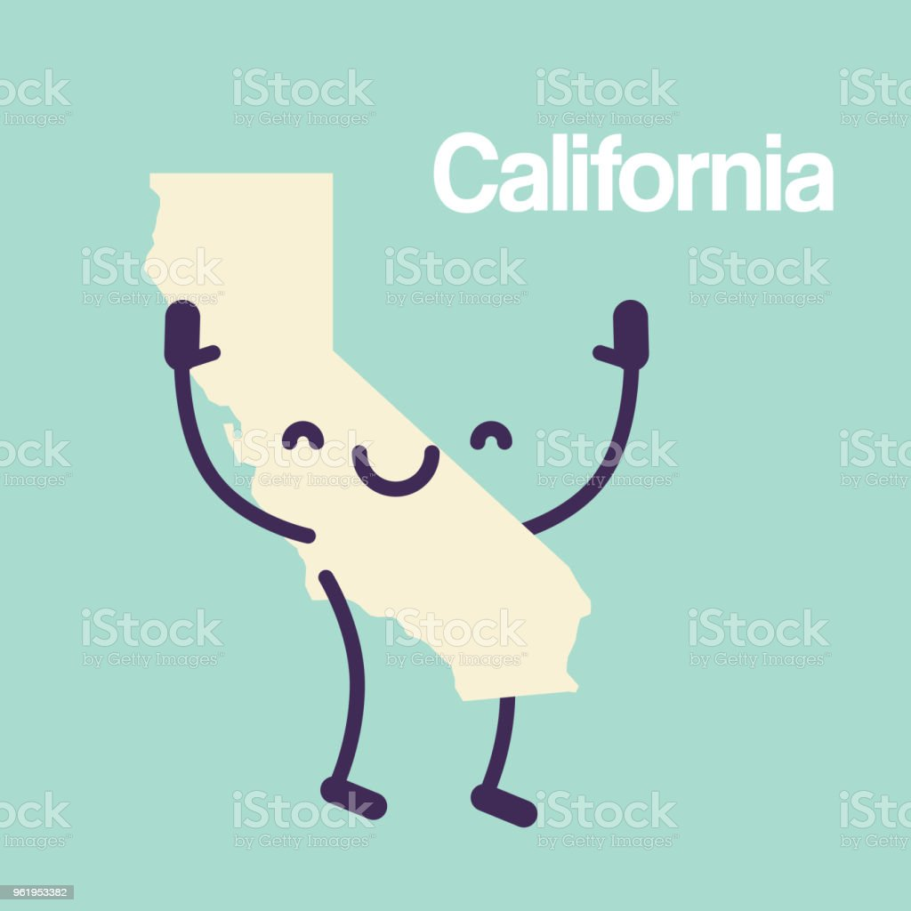 California Map Icon.Happy California Map Icon Stock Vector Art More Images Of Abstract