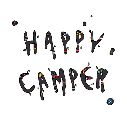 """""""Happy Camper"""" Hand drawn Message - Cute Doodle Text - Organic Typography"""