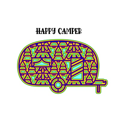 Happy camper Layered. Camper with ornament. Layered design. Vector multilayer illustration.
