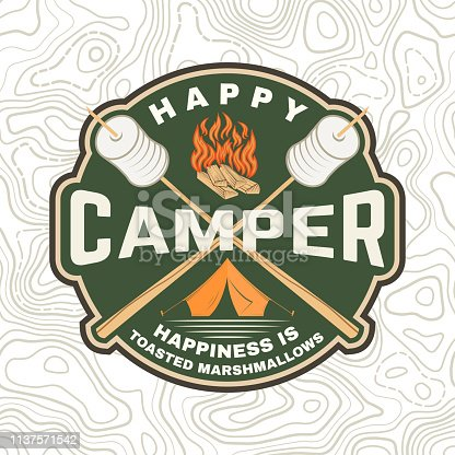 Happy camper patch. Happiness is toasted marshmallows. Vector. Vintage typography design with camping tent, campfire, marshmallow on a stick silhouette. Concept for shirt or print, stamp or tee