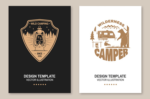 Happy camper. Vector. Concept for shirt or emblem, print, stamp or tee. Flyer, brochure, banner, poster design with camping trailer, bear, campfire and forest silhouette.