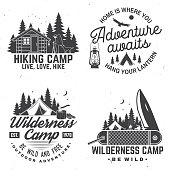Happy camper. Vector. Concept for shirt or , print, stamp or tee. Vintage design with lantern, pocket knife, campin tent, axe, camping tent, campfire, forest cabin and forest silhouette.