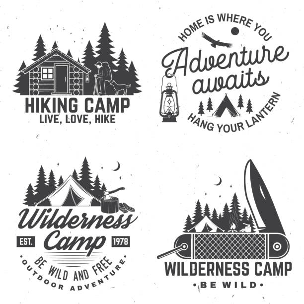 happy camper. vector. concept for shirt or , print, stamp. vintage design with lantern, pocket knife, campin tent, axe, camping tent, campfire, forest cabin and forest silhouette. - log cabin stock illustrations, clip art, cartoons, & icons