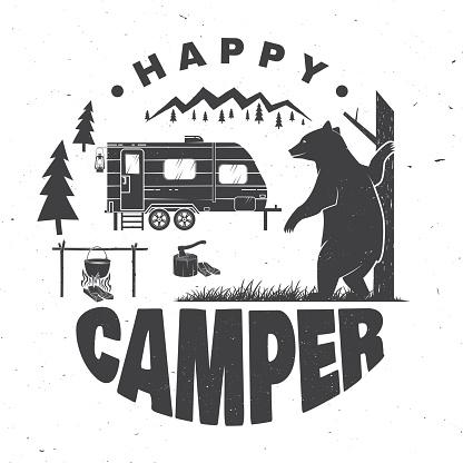 Download Happy Camper Vector Illustration Concept For Shirt Or Logo ...