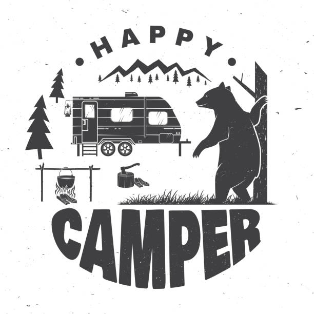 glückliche camper. vektor-illustration. konzept für hemd oder logo, print, stempel oder tee. - campinganhänger stock-grafiken, -clipart, -cartoons und -symbole