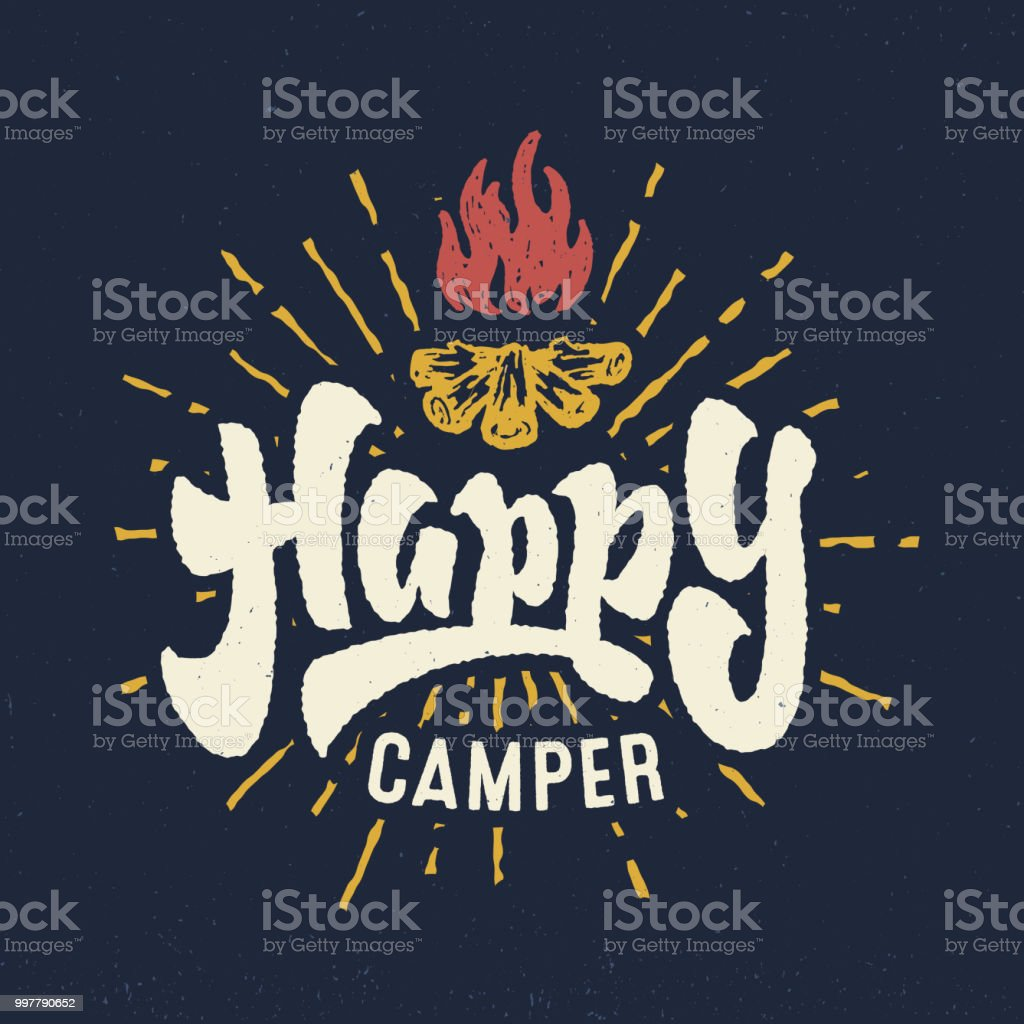 'Happy Camper' vintage hand crafted lettering badge - Royalty-free Acampar arte vetorial