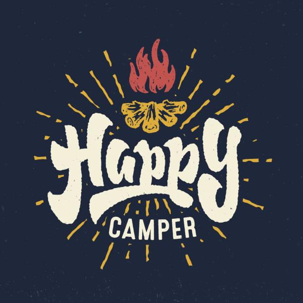 ilustrações de stock, clip art, desenhos animados e ícones de 'happy camper' vintage hand crafted lettering badge - camping