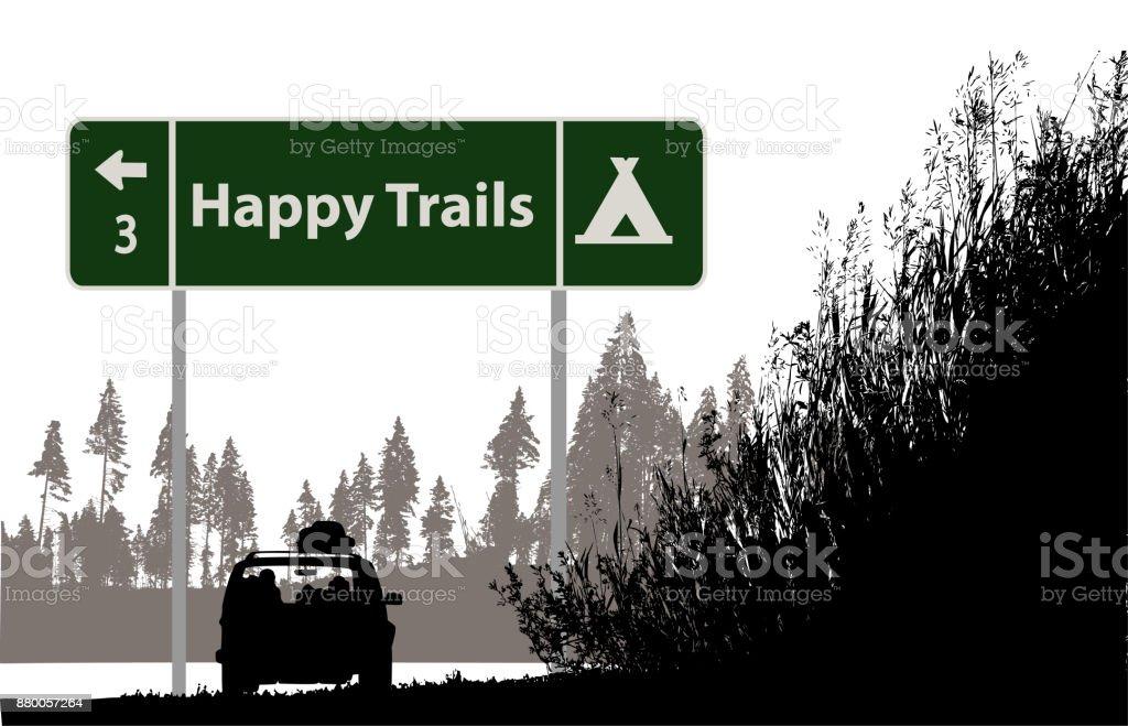 Happy Campers Road Trip vector art illustration