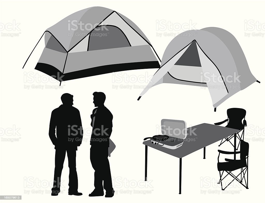 Happy Camping Vector Silhouette vector art illustration