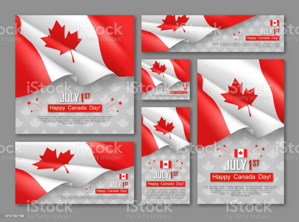 Happy Canada Day 1st of July banners set Happy Canada Day 1st of July banners set. Celebrate official country founding day. Congratulation template with realistic canadian flag and maple leaf. National patriotic holiday vector illustration. Backgrounds stock vector