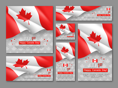 Happy Canada Day 1st Of July Banners Set Stock Illustration - Download Image Now