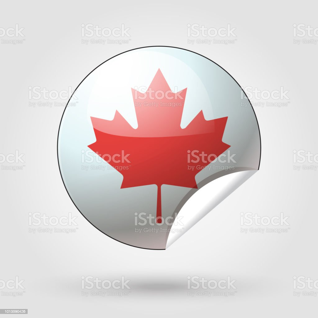 Happy Canada Day 1th of July Red Maple leaf Sticker, symbol, sign vector vector art illustration
